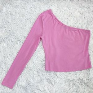 SHEIN Pink One Shoulder Long Sleeve Crop Top Small